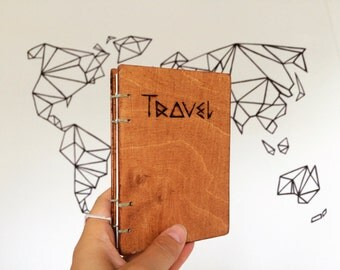 Wood notebook Travel