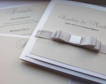 Luxury Ribbon Wedding Invitation Suite - Any Colour Lara 2014