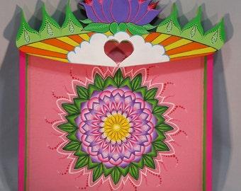 Cigar Box 3D Sunshine Purple Lotus Pink Mandala