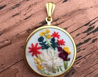 Wildflower hand embroidered pendant