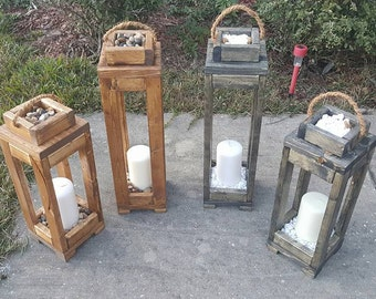 Set of 2 Wooden Latern