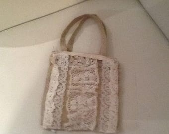Handmade Burlap and Lace bag