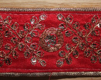 Red embroidered indian ribbon