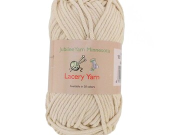 Lacery Yarn 100g - 2 Skeins - 100% Cotton - Vanilla Cream - Color 101