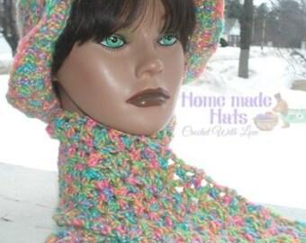 Homemade Rainbow Sherbert Yarn Wool Cap and Scarf