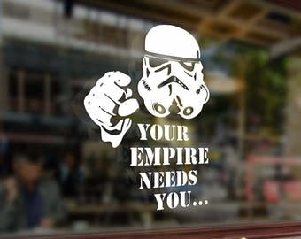 Stormtrooper Your Empire Needs You Star Wars Vinyl Sticker Funny Decals Bumper Car Auto Laptop Wall Window Glass Skateboard Snowboard Helmet