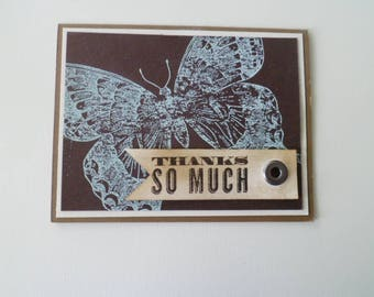 Custom card, Handmade greeting card, Handmade Thank You card, Butterfly card, Handmade card