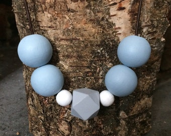 Wooden beaded necklace Wooden Jewellery Wooden necklace Leather necklace Hippie necklace Handmade necklace