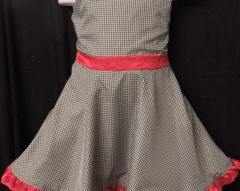 girl's dress - black gingham with red trim easter