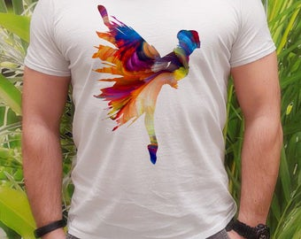 Ballet t-shirt - Ballerina tee - Fashion men's apparel - Colorful printed tee - Gift Idea