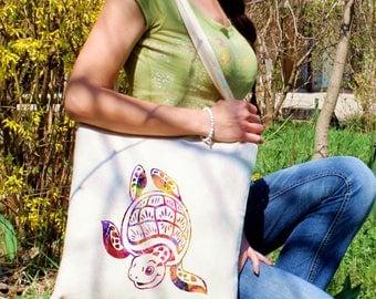 Turtle tote bag -  Cute shoulder bag - Fashion canvas bag - Colorful printed market bag - Gift Idea