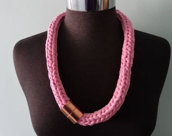 T Shirt Knit Necklace in Bubblegum Pink