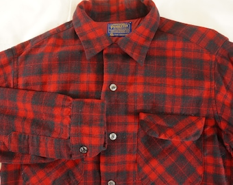 Vintage PENDLETON Virgin Wool Over Shirt Red Black Windowpane Plaid - Mens M - Made in USA Portland Oregon Cold Weather Fashion Lumberjack