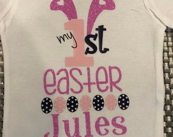 Personalized First Easter t-shirt with bunny ears and eggs * Infant Easter * Baby Easter