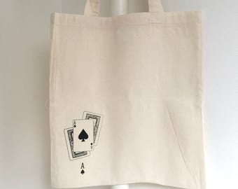 Tote bag screen printed handmade card - 100% cotton