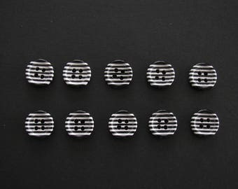 Zebra Striped Resin Buttons, 4 Holes, Small 1.1cm Diameter (Set of 10)