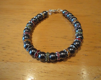 Metallic Glass Bead Mixed Rhinestone Bracelet - B79