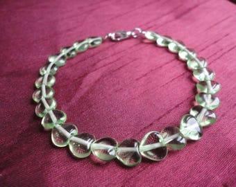 Green Heart Lampwork Bead Bracelet - B38