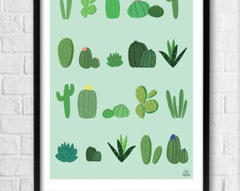 Displays Decoration Interior Illustration Cactus A4 (21 x 29, 7 cm) or A3 (29, 7 x 42 cm) frame - the Cactus
