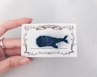 Milky Whale embroidered brooch. Whale pin. Whale brooch Hand embroidered pin. Clothing accessory