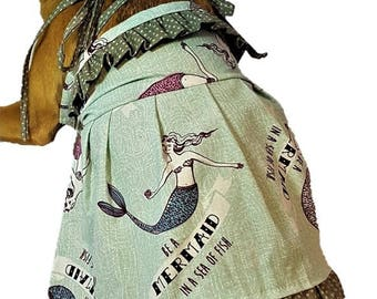 Mermaid dog dress, pet sundress, mermaid sundress,  tie strap dog dress, mermaid summer dog dress, gray polkadot ruffle, unique dog dress