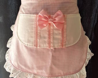 Pink gingham apron, womens aprons, half aprons, ruffled apron, waist apron, pink and white apron, tuxedo apron, pink bow apron,
