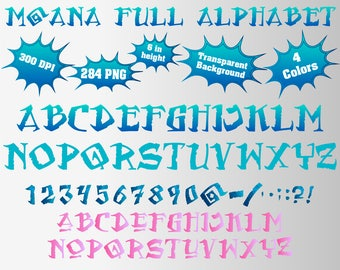 Moana Full Alphabet, Numbers and Symbols | 284 PNG | 300 dpi | Transparent Background | 4 Version Colors | Moana Birthday Party