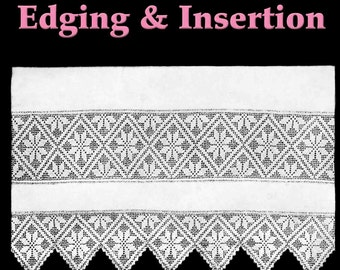 Quilt Block Lace Edging & Insertion Filet Crochet Pattern