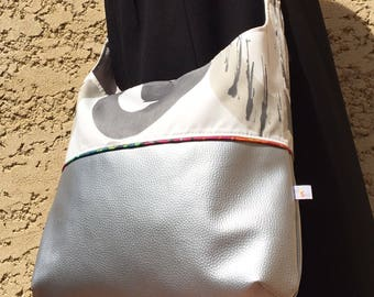 Bag satchel Tote Leather & cotton silver / white to reasons gray piping multicolor bag for active woman, hands-free bag.