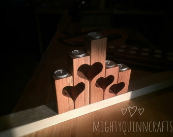 Farmhouse candle holders, wooden candle holders, farmhouse decor set, tea light holder, mom gift, oak with heart cutouts, farmhouse gift