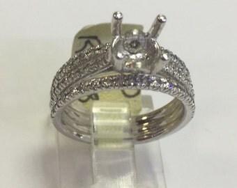 14k white diamond engagement ring