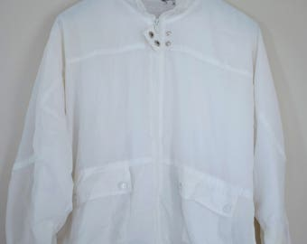 Vintage 1990's White Zip Up Windbreaker with Snap Collar / Light Weight Jacket