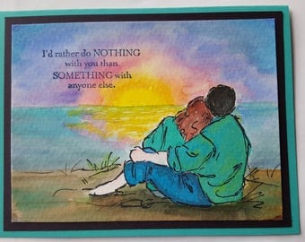 Love, Couples, sunset, hand made card, water color card
