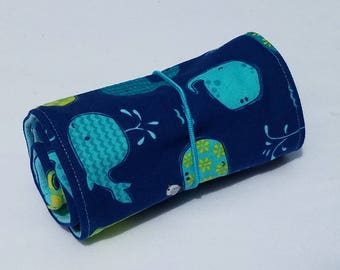 Whales Crayon Roll Up, with 16 crayons