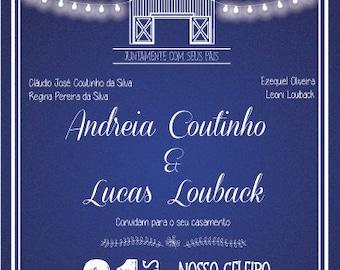 Barn Wedding Invitation (Portuguese or English) Digital File