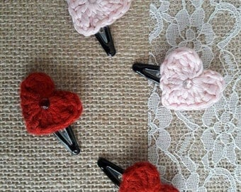 Set of 2 crochet Heart Hair Clips Handmade with Love