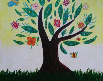Original acrylic painting. Tree of the life.