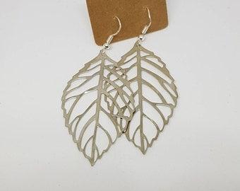Bronze/Silver Plated Filigree Leaf Earrings