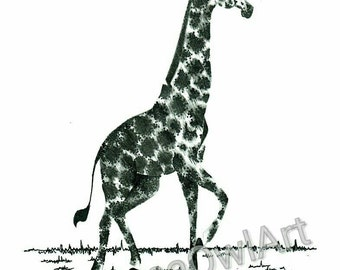 Pencil And Ink Sketch Giraffe Illustration Print.