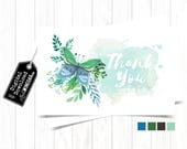 Whimsical Watercolor Butterfly Thank You Cards, Blue, Teal & White Thank You Card, Girl Baptism Thank You Card | INSTANT Download 4x6 JPG