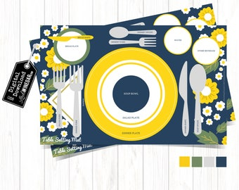 Etiquette Placemat for Kids | Table Setting Diagram for Teens | Manners Placemat with Flowers | INSTANT Download 11x17 JPG
