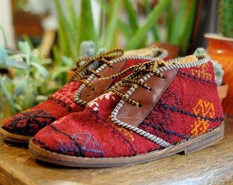 Turkish Kilim Ankle Boots, size 7.5