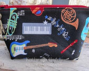 Zippered Pouch | Makeup Bag | Lined Zipper Bag | Music Instrument Fabric | Musician Gift Bag | Small Gift Under 20 | Camera Accessory Bag
