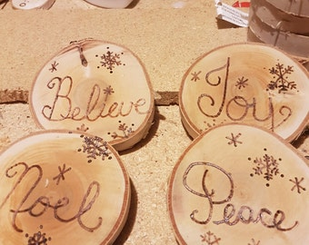 Set of 4 birch woodburned Christmas coasters