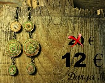 Dangle earrings, free shipping !!!!! gift for her, boho earrings, green earrings, long earrings, sale, spring earrings, whorled earrings