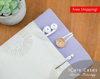 iPad Case Sleeve iPad Best iPad 9.7 Sleeve New iPad 9.7 2017 Case iPad 10 Pouch with Flower Blossom Purple Case Wife Gift Safe Case