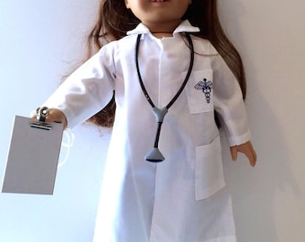 LAST ONE 18 Inch Doll Clothes Doctors Lab Coat Stethoscope and Clipboard with Optional Black Shoes Also Fits Like American Girl Doll Clothes