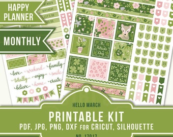 March Monthly Kit, March Planner Stickers, Floral Planner Stickers, St. Patrick's Day Planner, Happy Planner Printable Kit, 17017