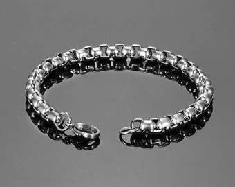 Bracelet steel 316 L tight links, size 19 cm x 6 mm, silver color