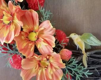 Large three seasons wreath Orange Hummingbird